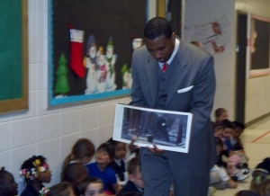 Sharing a holiday story with the 1st Graders